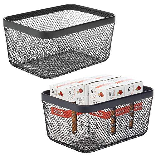 mDesign Juego de 2 Cajas Multiusos de Metal de 30,5 cm x 22,9 cm x 15,2 cm – Organizador de Cocina, despensa, baño y más – Cesta de almacenaje de Alambre, compacta y Universal – Negro