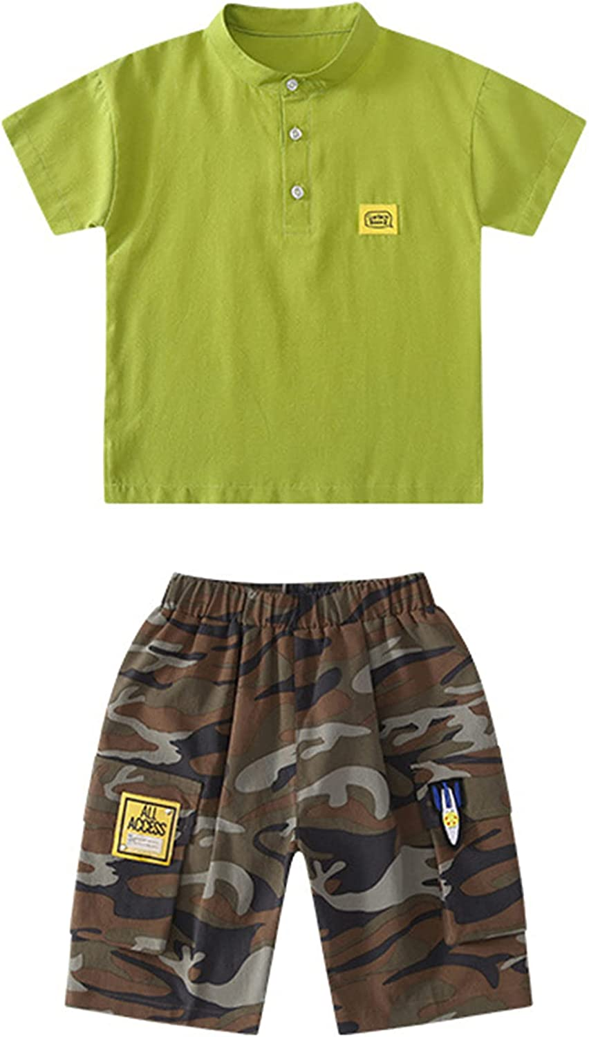 Aislor Toddler Boys Summer Clothes Band Collar Short Sleeves Letter Top T-Shirts with Camo Cargo Shorts 2Pcs Set