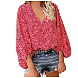 Womens Lantern Sleeve Blouse Loose Floral Printed V-Neck Summer T-shirt Tops Red