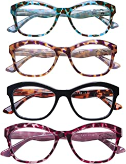 AQWANO Oversized Cat Eye Computer Reading Glasses Blue Light Blocking Fashion Leopard Print Readers for Women Stylish Look, 3.5
