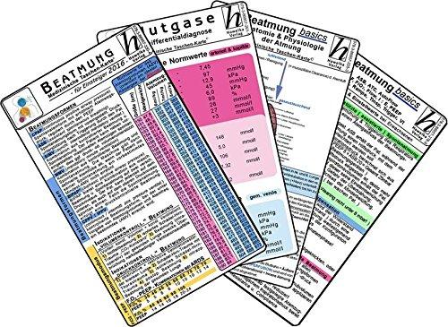 Beatmungs-Karten-Set für Einsteiger 2016 (5er-Set) - Medizinische Taschen-Karte: Bestehend aus: Beatmungsformen, Indikationen, Grundeinstellungen & ... Rampe, Tinsp, Trigger, Vt - Basics Anatomie