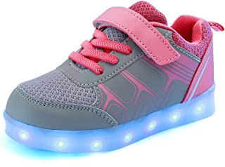 BY0NE Kids/Boys/Girls Light up Shoes LED Trainers Low-Top USB Charging Flashing Sneakers