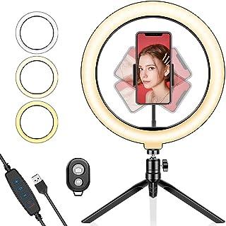 LEDリングライト10inリングライト 自撮りライト 撮影用定常光ライト 撮影照明用ライト USB式 3色モード 10段階調光 補助光 卓上 高輝度LED 三脚 スマホスタンド付き 生放送/美容化粧/自撮り/動画撮影 照明 顔美化 肌美化ライト