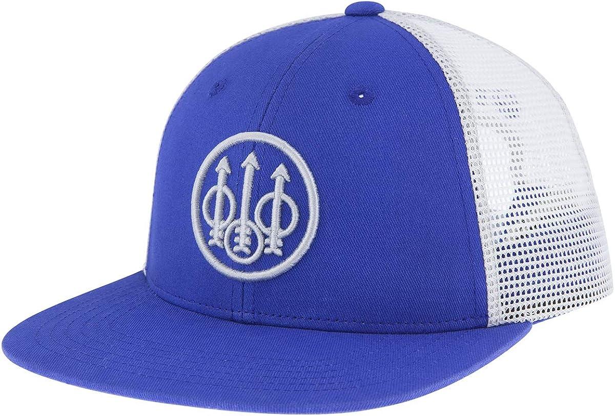 Beretta Men's Trident Flat Bill Casual Structured Cotton Twill Trucker Hat with Mesh Back
