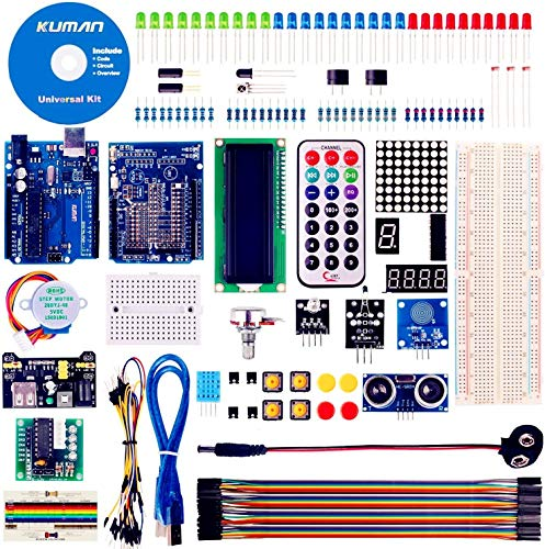 Kuman Project Super Starter Kit with Tutorial for R3 Mega2560 Mega328 Nano kits, Prototype Expansion Board, Stepper motor, Breadboard, Accessories for Arudino K11