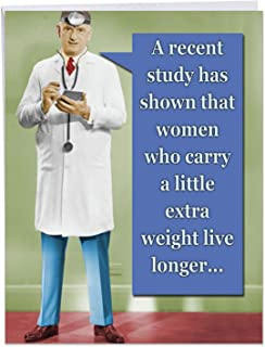 XL Funny Birthday Card - 'A Recent Study' With Envelope 8.5 x 11 Inch - Humorous Happy Birthday Wishes, Greetings, and Gifts Featuring Male Doctor w/Hilarious Weight Joke J1395