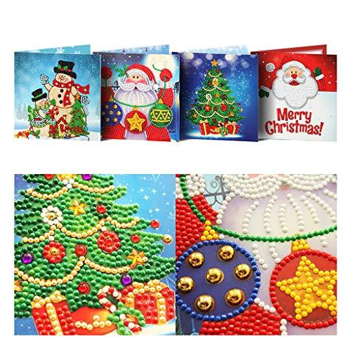 Hunpta @ 4 Stück Weihnachtskarte Set Weihnachtsmann Elch Schneemann DIY Weihnachten Diamant Malerei Teil Strass 5D Diamond Painting Kreatives Weihnachtskarte