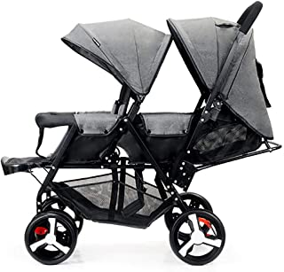 Foldable Double Seat Baby Stroller, Heavy Duty Construction Frame for Safety, Adjustable Backrest, and Footrest, Safety Wheels, 5 Points Safety Belts