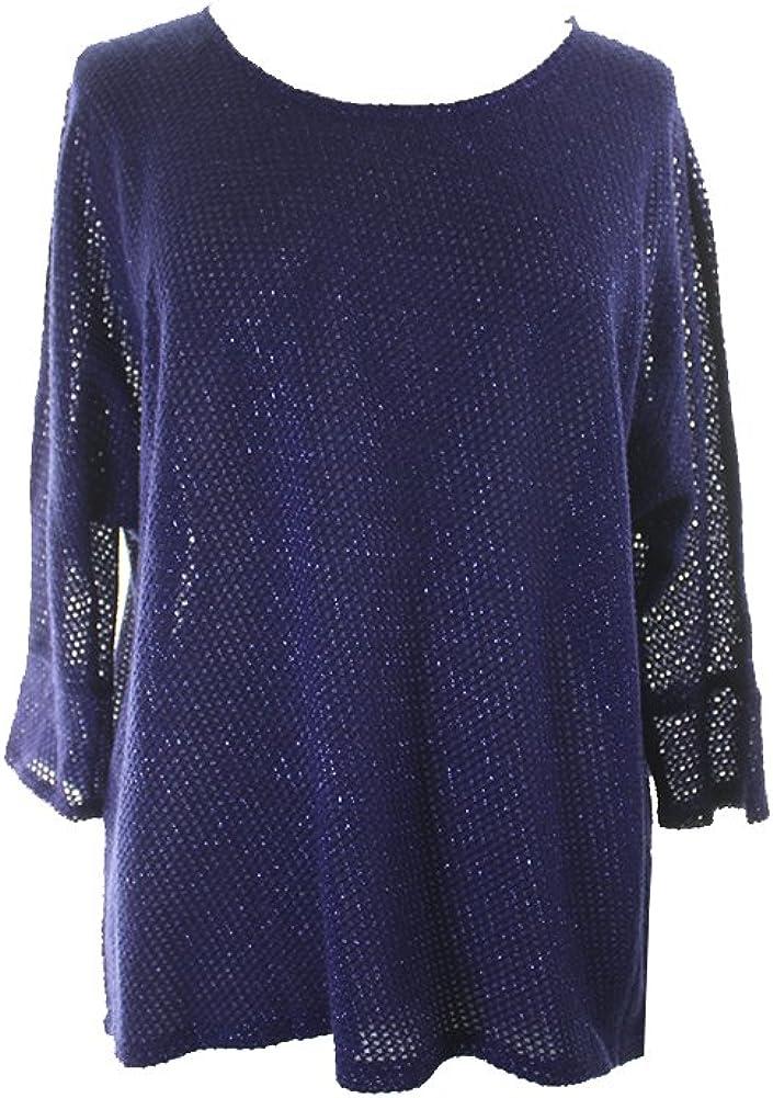 Alfani Womens Metallic Sheer Pullover Sweater Blue M