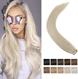 [Hot Sale]LaaVoo 18inch Remy Straight Tape ins Human Hair White Blonde Not Yellow Blonde Salon Style Tape on Hair 8A Grade Dip Dye Hair 20pcs 40g+10g for Free for Thin Hair