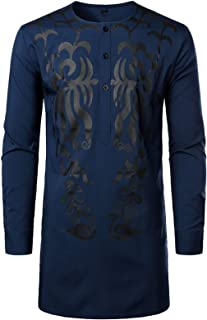 Comaba Mens Classic Relaxed Long-Sleeve Blouse T-shirt Tops Floral Shirt Top