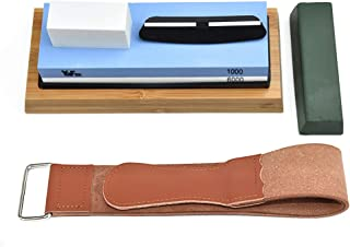 YaFex Complete Knife Sharpening Stone Set 2 Side Whetstone 1000/6000 Grit Waterstone Sharpener with Leather Strop, Flatten...
