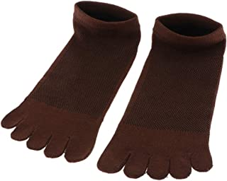 Sharplace Calcetines de Cinco Dedo de Algodón Transpirable Deportivo para Hombres - café, talla única