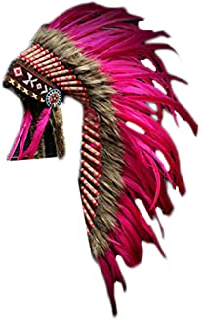 KARMABCN Native American Inspired Medium Feather Headdress (36 Inch Long)/War Bonnet