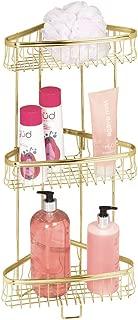 mDesign Metal 3-Tier Bathroom Corner Shower Shelf - Free Standing Vertical Unit Storage - for Organizing Soaps, Shampoos, Conditioner, Fash Face, Body Scrubs, Body Washes - 3 Baskets - Soft Brass