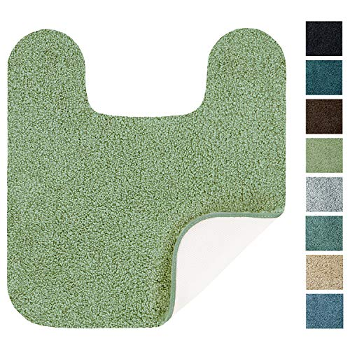 Maples Rugs Softec Non Slip Washable & Quick Dry Contour Toilet Rugs [Made in USA], U-Shaped, Sage