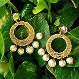 Abhika Creations Golden Hoop Mesh Earrings With White Pearls Earrings Handmade In India Fashion Jewelry Hoop Kundan Earrings Stylish Designer Earrings