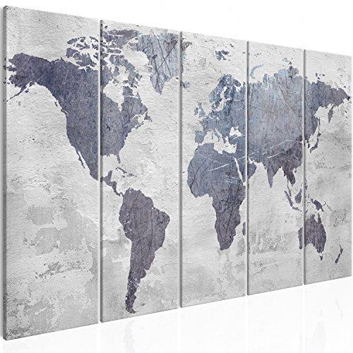 murando - Cuadro en Lienzo Mapa del Mundo 200x80 cm Impresión de 5 Piezas Material Tejido no Tejido Impresión Artística Imagen Gráfica Decoracion de Pared Gris Concreto k-C-0087-b-m