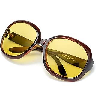 SODQW Oversized Night Vision Glasses for Driving, Polarized Night Driving Glasses for Women, Large Frame HD Yellow Lens