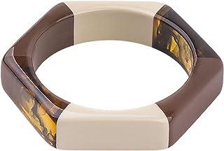 ebbef88eb09 DEER HOUSE Acrylic Fashion Cuff Bracelets Bangles for Women Mix Colors  Hexagon Geometric Resin Simple Bracelet