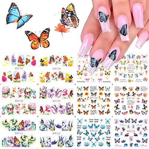 12 hojas de pegatinas de mariposa para decoración de uñas, diseño de mariposas, para uñas, decoración de uñas, decoración de uñas, decoración colorida