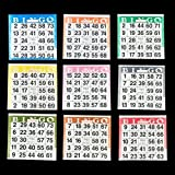 Bingo Paper Cards - 1 card - 9 sheets - 100 books - Play 9 Games - 4 Inch Square Size - 900 Disposable Cards - No Duplicate Cards by Color - Made in USA