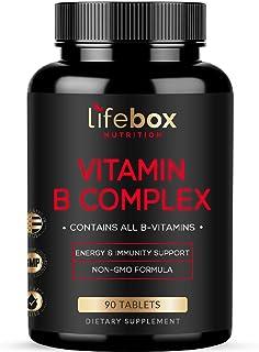 Super Vitamin B Complex – Contains All B Vitamins with B1, B2, B3, B5, B6, B7, B9, B12 and Biotin – B Vitamins Helps Promo...