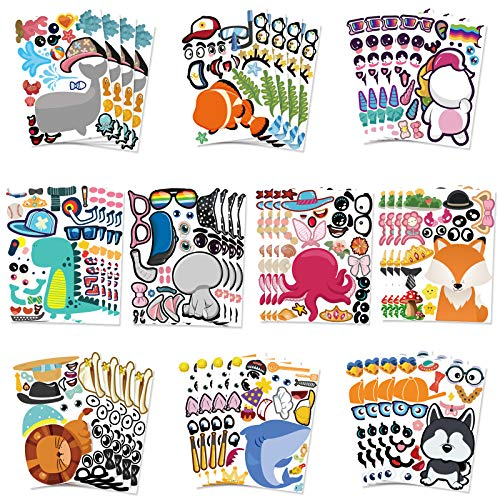 40 Sheets Make Your Own Stickers for Kids with 10 Designs, DIY Animal Stickers, Sea Creature, Dinosaur and More, Reward of Festival, Children Art Craft, School, Kids Party Favors (Style A)