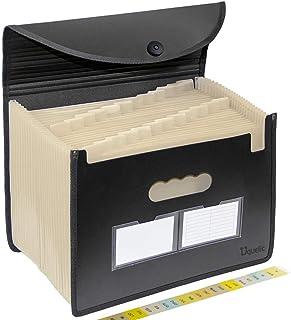 Uquelic Café Color Clasificadores Carpetas de Acordeón 24 Bolsillos Carpeta Archivadora Extensible Portátil Acordeon Documentos Plástico Ampliable Carpetas Clasificadores a4