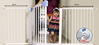 Kiddale Extra Wide, Auto Close, Baby Safety Gate (Barrier, Fence) for Baby Kids, Dogs, Pets, Infants(for Passage Width Between 184-194cm) Height: 78cm-White with 4 Strong Wall Grippers