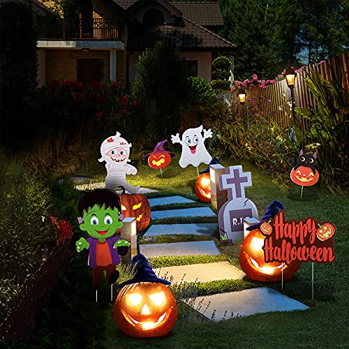 MikeyBee 7pcs Halloween Yard Signs Rasendekorationen im Freien Happy Halloween Garden Scene Zubehör Halloween Yard Dekorationen