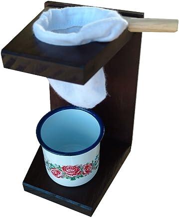 Mini Coador de Café ou Mariquinha Mancebo em Mandeira com Caneca Esmaltada Importada - Poma Shop
