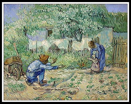 Maluj według numerów dla dorosłych zestawy dzieci początkujący z pędzlami i pigmentem akrylowym ręcznie malowany obraz olejny do samodzielnego wykonania, dekoracja ścienna domu - pierwsze kroki (po proście) autorstwa Vincenta Van Gogha