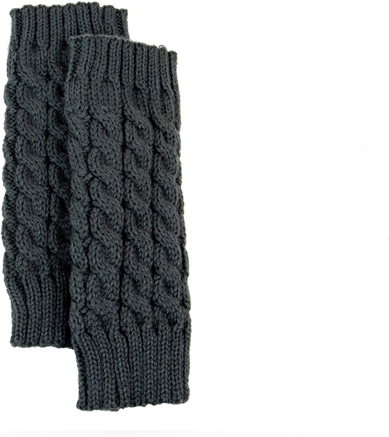 Exotic Identity Fingerless Gloves Cable Knit Tahoe Cold Weather Wear for Women - M - Grey