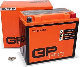 GP-PRO GB16L-B - Batería de arranque para motos, 12V, 17Ah, parecido a YB16L-B / 51911, sin necesidad de mantenimiento, para Kawasaki GPZ 1100