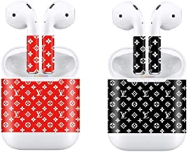 Airpod Skins Bluetooth Earphone Case Protective Sticker Wrap Cover - LV Airpods Skin Protective Wrap - Airpod Wraps - LV Airpod Skins - Airpod Skins (2 Pack) Multiple Designs (Red/Black)