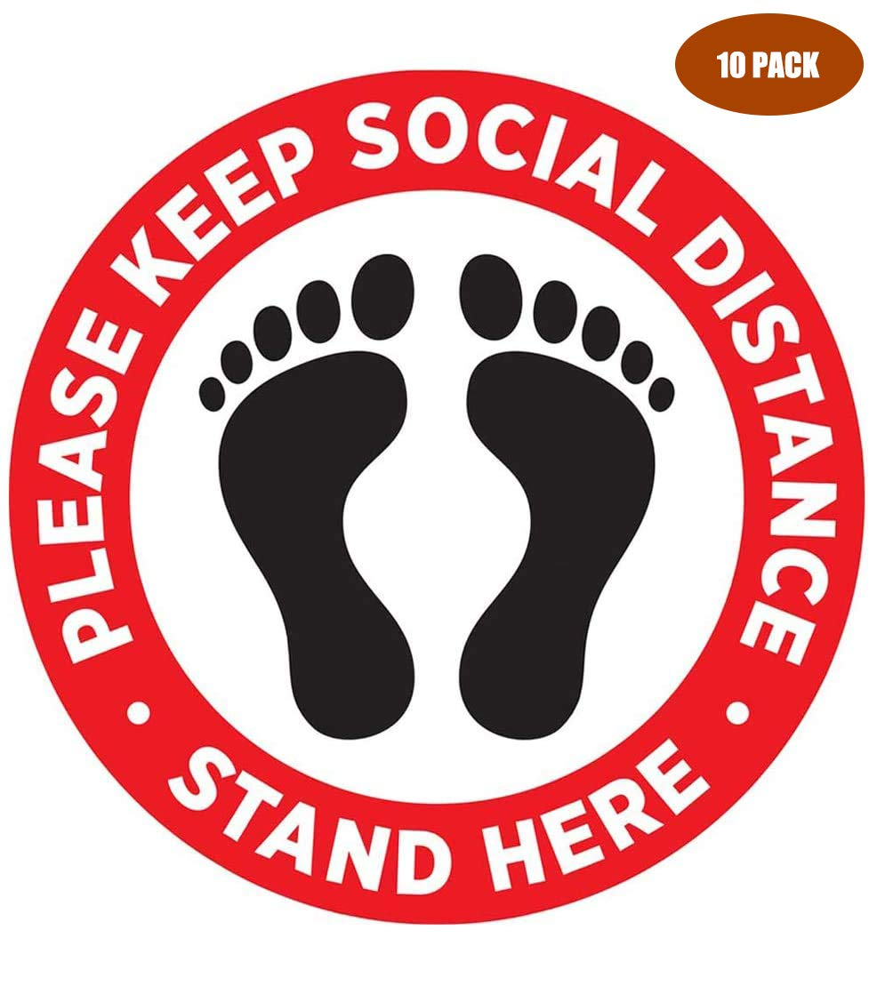 2 x please keep your distance 15cm x 15cm - social distancing landscape floor safety sign self adhesive vinyl weather proof label sticker SC-20