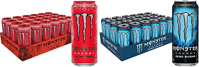 Monster Energy Ultra Red, Sugar Free Energy Drink, 16 Ounce (Pack of 24) & Zero Sugar, Low Calorie Energy Drink, 16 Ounce ...