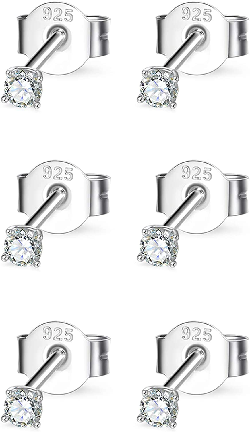 Sterling Silver Cubic Zirconia Stud for Women Max 67% OFF Men Superior Earrings Girls