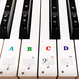 Piano Keyboard Stickers for 88/61/54/49/37 Key, Bold Large L