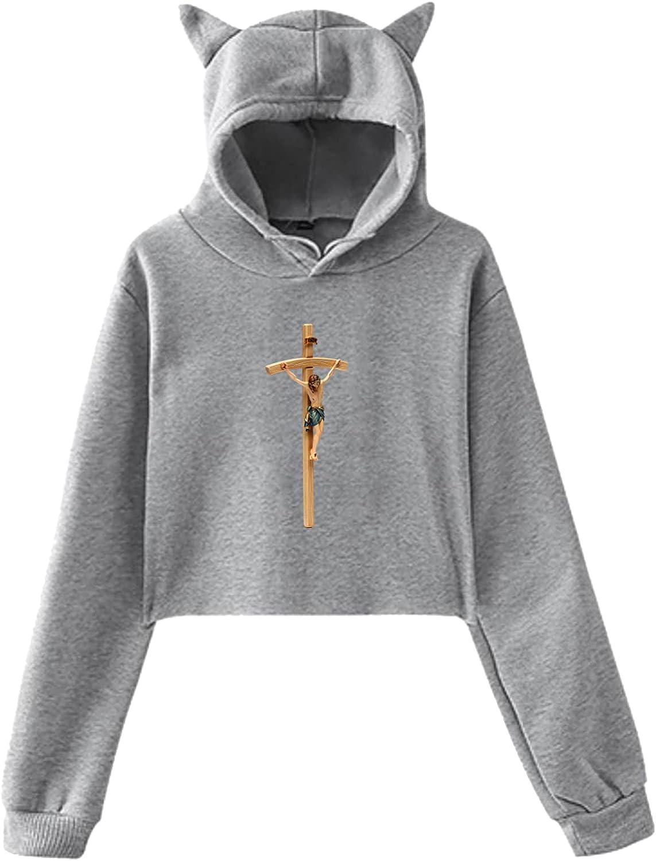 Jesus Cross Lady Cat Ears Hoodie Sweater RetroShort Cat Ear Top, For School, Work, Sports, Party, Daily Wear