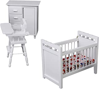 1/12 Dollhouse Miniature Furniture Baby Bedroom Set White