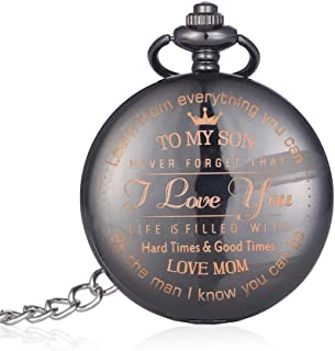 Personalized Gunmetal Engraved Quartz Pocket Watch with Chain - Birthday Anniversary Wedding Party Gifts