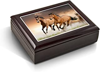 A Pair of Competitive Wild Horses Tile Musical Jewelry Box - Over 400 Song Choices - Torna A Sorrento (Return to Sorrento)