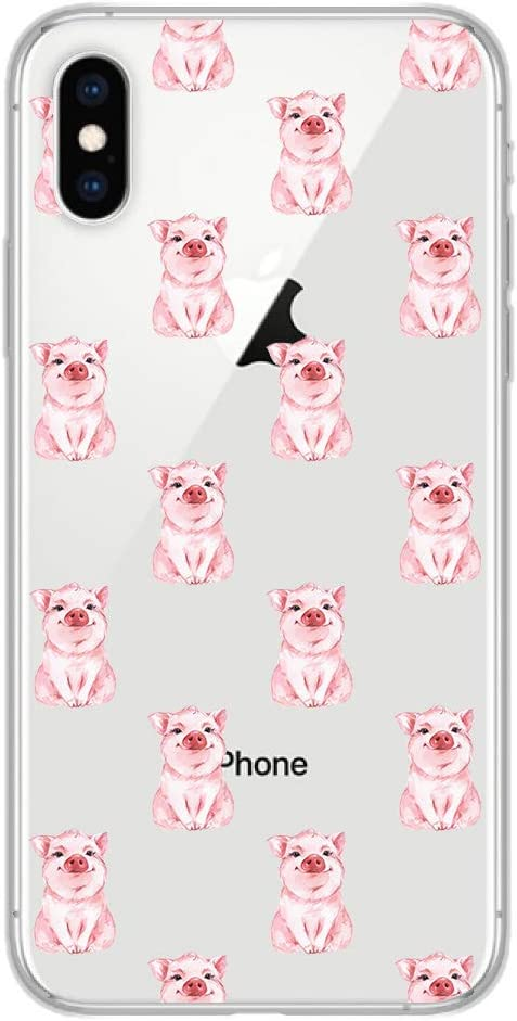 iPhone XR Case,Blingy's New Funny Animal Style Transparent Clear Soft TPU Protective Rubber Case Compatible for iPhone XR (Cute Pig)