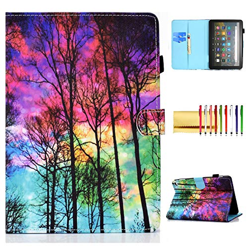 Smart Case for Amazon Fire HD 8 10th Gen/Fire HD 8 Plus 2020, Techcircle Slim Folio Stand Magnetic Flip Cover with Card Slots+Pen Holder for Fire HD 8 2020, Auto Sleep/Wake, Colorful Forest
