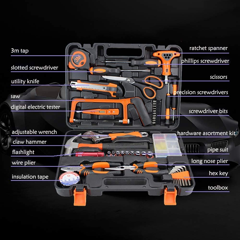 Color : Black, Size : 36x27x7cm Multifunctional Tool Set Tool Kit for Home 45 Pieces Home Repair Basic Tool Kit Sets General Household Tool with Plastic Storage Case Herramienta