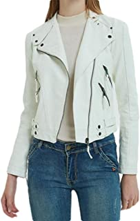 Howely Womens Zip-Front Top Coat Basic Style Bomber Pu Leather Jacket Coats