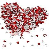 HOWAF plástico especular Amor corazón Rojo y Plateado Confeti Boda Mesa Comedor Confeti Decoración Mesa para Boda...
