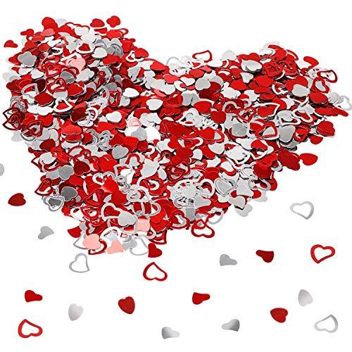 HOWAF Silber und Rot Herzen Konfetti Glitter Tischkonfetti Herz Rot Valentinstag deko Geburtstag Hochzeit Jubiläum Party Tischdekoration, 15 mm, über 1000 STK